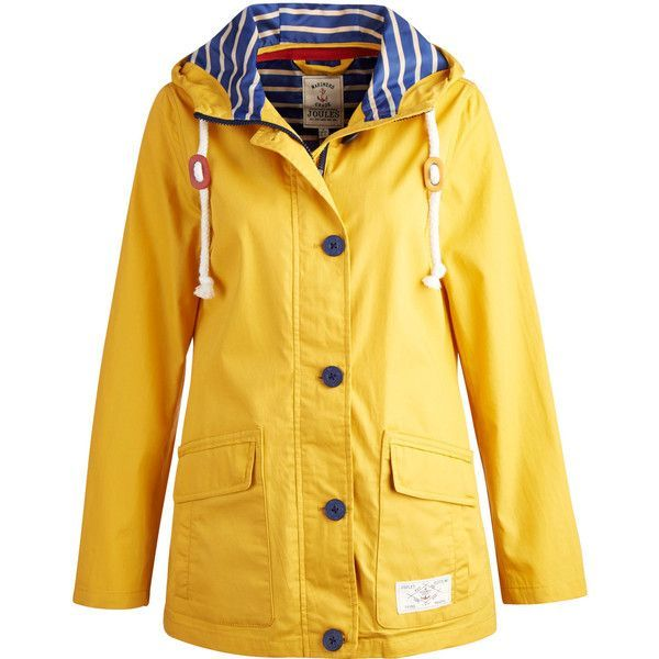 Yellow Slicker Raincoat Women ❤ liked on Polyvore featuring outerwear, coats, nautical, joules coats, rain coat, mac coat, yellow raincoat and yellow rain coat