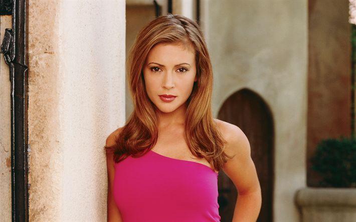 Lataa kuva Alyssa Milano, Amerikkalainen näyttelijä, muotokuva, vaaleanpunainen mekko, kaunis nainen