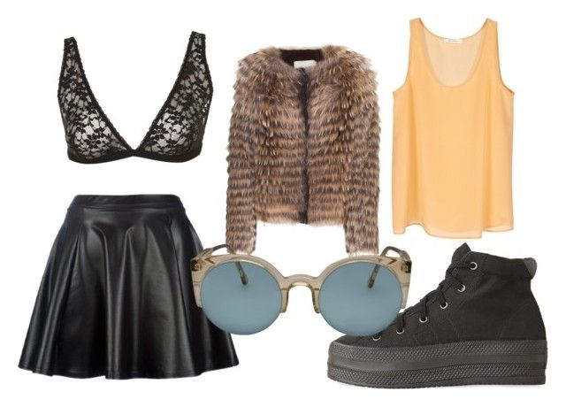 """""""The Runaways"""" by sophie-lawrence ❤ liked on Polyvore featuring Yves Salomon, Apex, Opening Ceremony, RetroSuperFuture, leather skirts, sunglasses, faux fur jacket, lace bra and high top sneakers"""