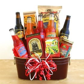 Valentines Day Gift for Him #valentineday #gift A handsome tub full of sparkling Dad's Soda and savory snacks is designed to wish him a great Valentine's Day! Delicious and effervescent, the flavored assortment of Dad's Soda's is the perfect way to quench a thirst and celebrate a great day. Also included are California smoked almonds, salsa and tortilla chips, Crunchie Munchie snack mix and butter toffee pretzels. All are presented in a handsome metal tub.
