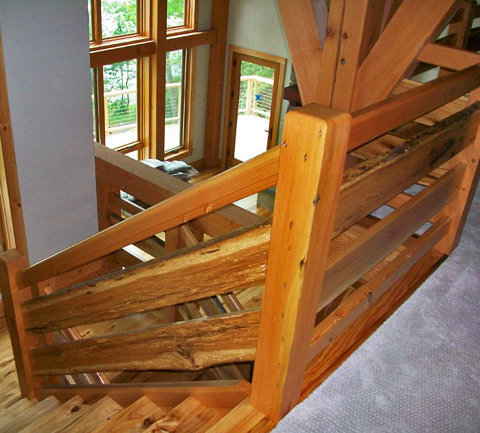 Live-edge hickory railing found in a New York home.