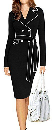 LUNAJANY Women's Casual Notched Lapel Wear to Work Belted Office Pencil Dress - READ MORE @ http://www.passion-4fashion.com/clothing/lunajany-womens-casual-notched-lapel-wear-to-work-belted-office-pencil-dress/?a=5786