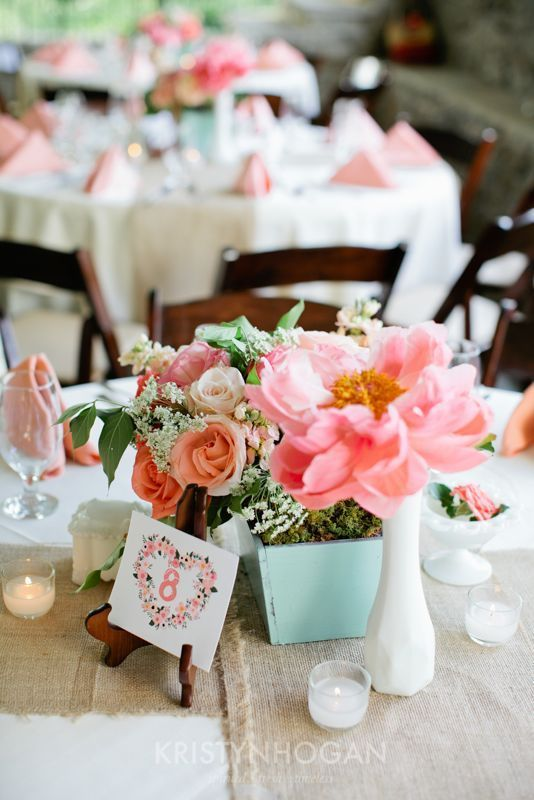 Beautiful vases, pots and flowers for this centerpiece- I love the idea of the pots for centerpieces! so cute.