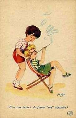 """carte postale """" T'as pas honte ? de fumer """" ma """" cigarette ? """" Signée : Matéja - N, Cartes Fantaisies"""