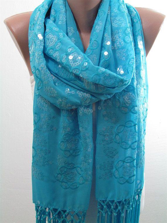 Turkooizen sjaal omslagdoek Wrap oversized sjaal Turquoise bruiloft omslagdoek sjaal bruidsmeisjes geschenken Sequin sjaal ideeën van de Gift voor haar