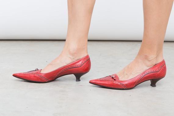 Vintage Red Shoes Geox Pumps Size 36 Us 5 5 Uk 3 5 Red Kitten Heels Red Kitten Heels