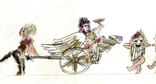 THE FOUR SEASONS - LES QUATRE SAISONS - Costumes and Prop for a BACCHUS riding on a PHALLUS-shaped CANNON with GRACES and SELENI, Design Barry Kay, Ballet Choreography by Kenneth MacMillan, Ballet de l'Opéra, Théâtre National Opéra de Paris, 1978