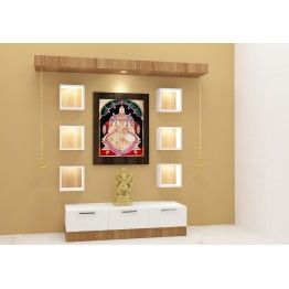 Nicolet Puja Unit. Made Up Of Plywood With Laminate Finish. This Wooden Puja  Unit