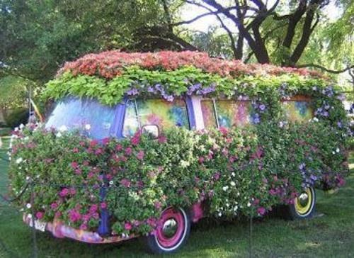 cool patio garden design ideas | cool flower covered VW | Homework Inspiration | Pinterest ...