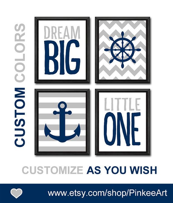 dream big nursery quote nautical wall art boy nursery art anchor shipwheel sailor nursery new baby decor gift for boys kids room decor by PinkeeArt, $29.00