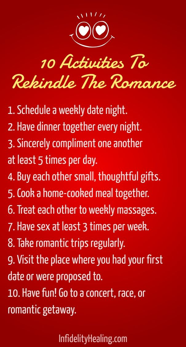 Here are 10 activities to rekindle the romance after an affair.