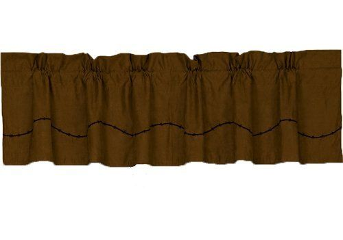 HiEnd Accents Embroidered Barbwire Valance by HiEnd Accents. $38.99. Impeccable Quality. Immaculate Design. Affordable Price. The barbwire coordinating valance consists of a tan faux suede fabric accented with a strand of barbwire along the edge.