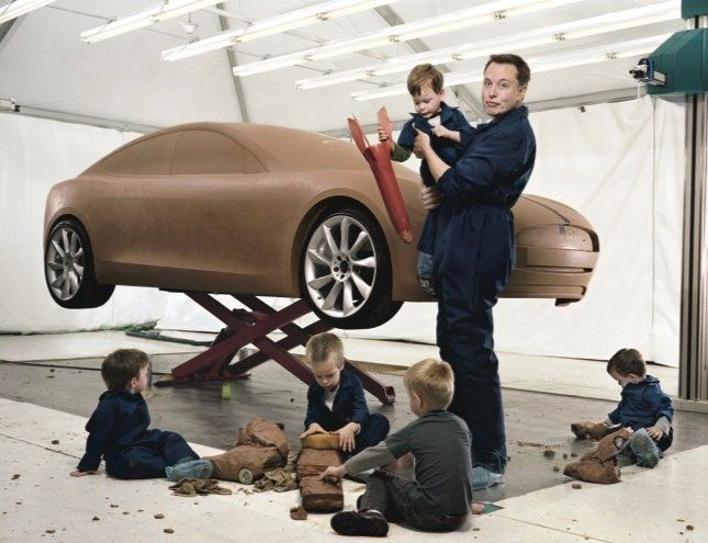 Elon Musk with his five sons