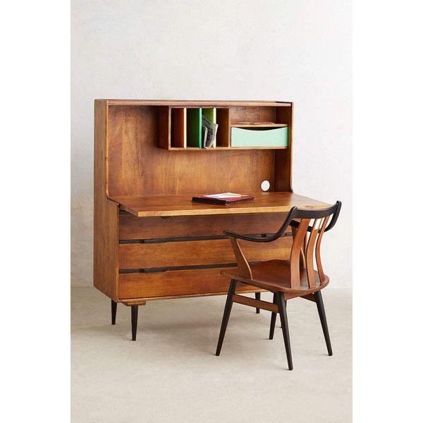 Anthropologie Retractable Writing Desk ($900) ❤ liked on Polyvore featuring home, furniture, desks, desk, brown, anthropologie, cable management desk, colonial furniture, brown desk and cord management desk