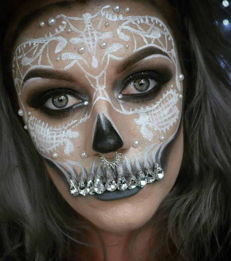 pretty skull halloween makeup halloween and spfx makeup by me toxictinacreations pinterest. Black Bedroom Furniture Sets. Home Design Ideas