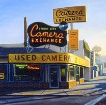 """Tony Peters Art: """"Studio City Camera Exchange"""" 30 x 30 inches, oil on canvas. Painted in 2001"""