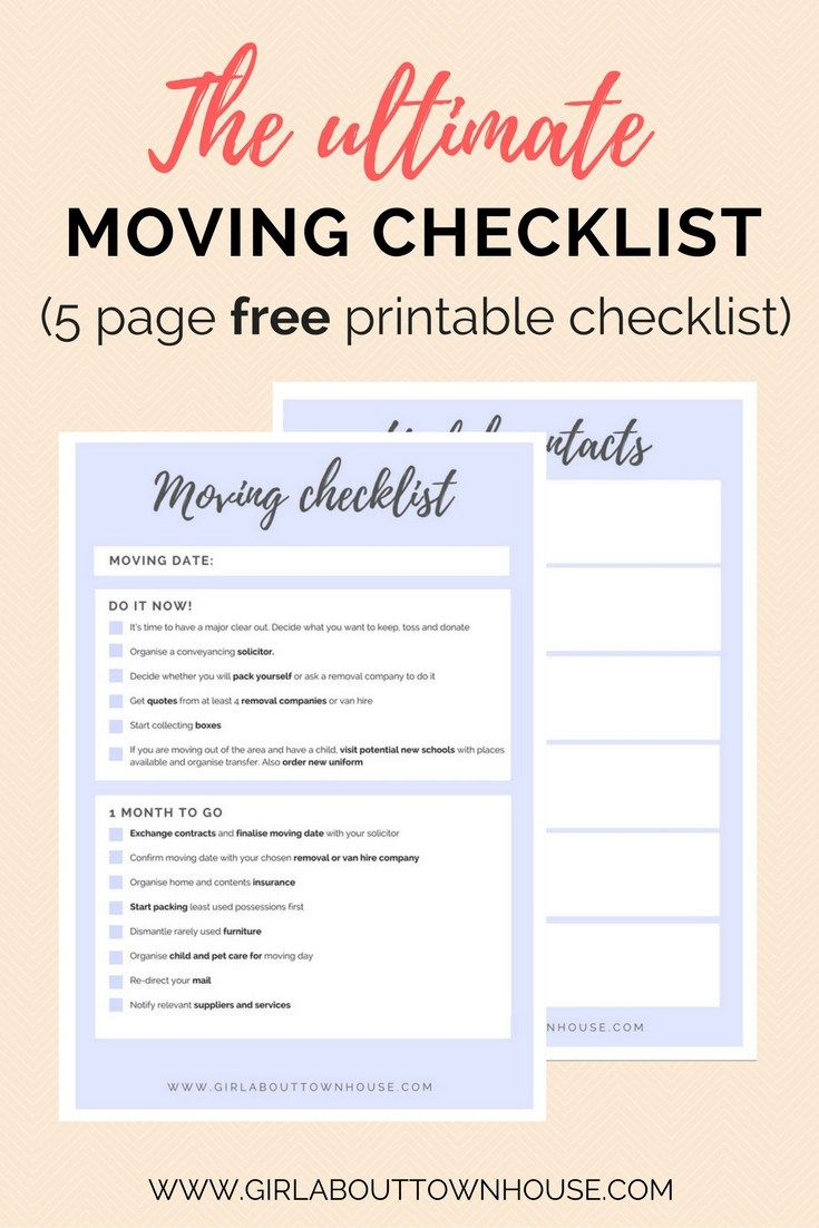 25 best ideas about Moving Checklist – Moving Checklist Template