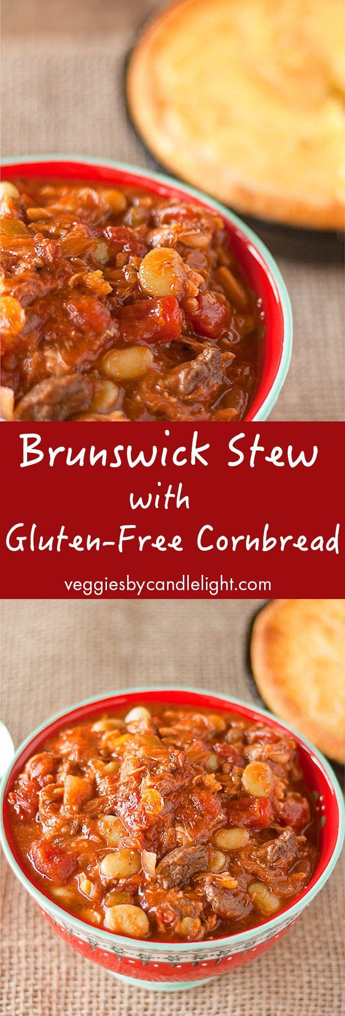 Brunswick Stew with Gluten-free Cornbread - Brunswick stew is a traditional Southern favorite. A thick, tomato-based stew filled with veggies and meat and this version is hard to beat!