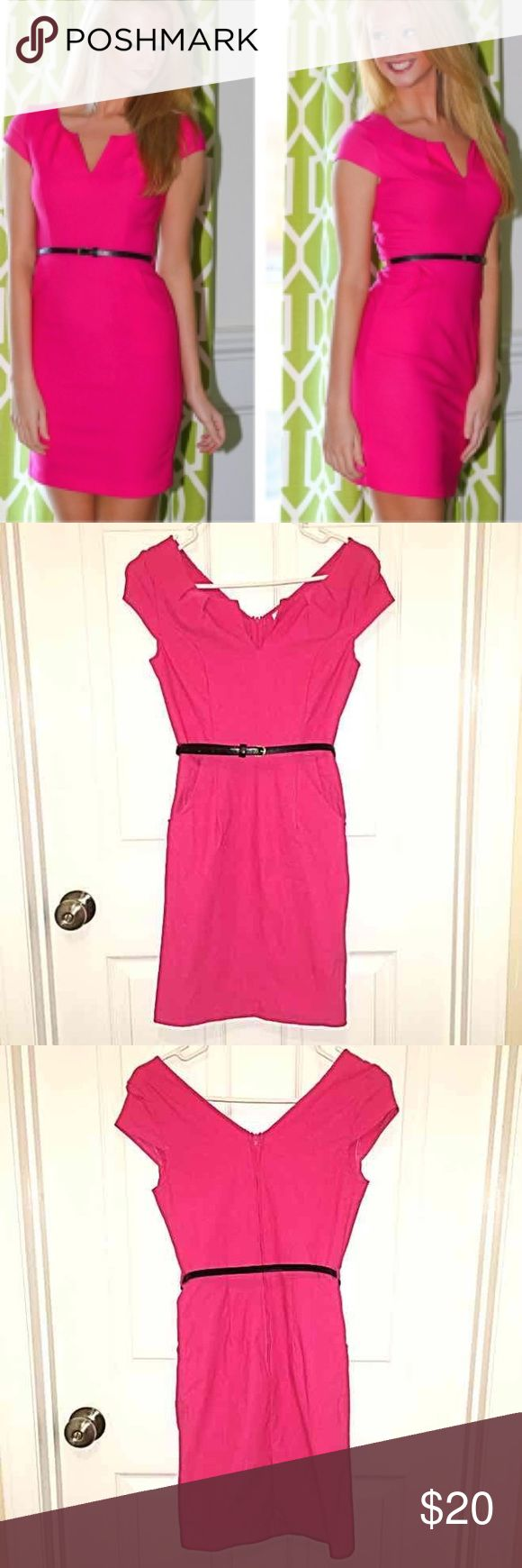 Pink Work Dress Size small (0-2). Worn once. Comes with black belt. Purchased from Red Dress. Dresses