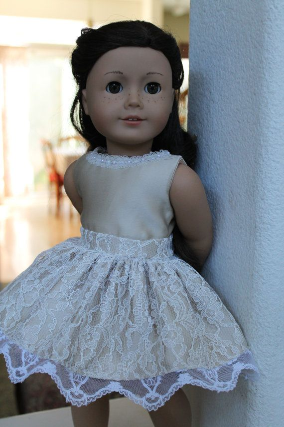 American Girl Doll champagne lace dress 18 inch by LoveEllieBean