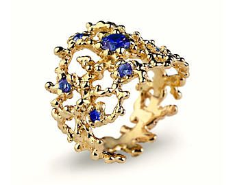 CORAL Blue Sapphire Ring, Gold Sapphire Ring, Gold Sapphire Wedding Band, Wide Gold Ring, September Birthstone Ring, Nature Inspired Jewelry