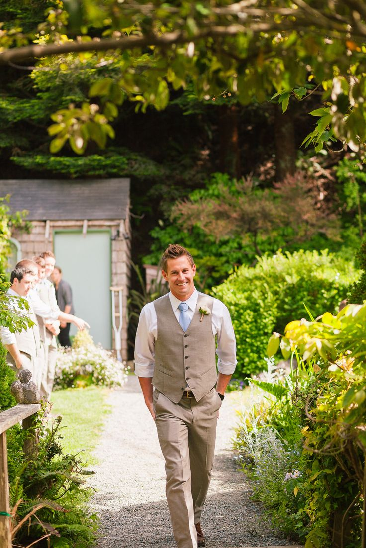 Garden wedding - groom's suit with vest by John Varvatos - Compass Rose Gardens, Bodega Bay, CA
