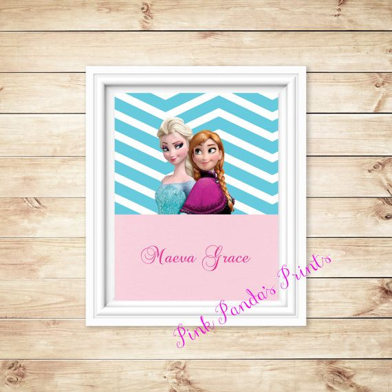 Personalize this Frozen Elsa and Anna print    Printed on high quality cardstock.  Frame not included.  Size - 8 x 10 (8.5 x 11)    Please