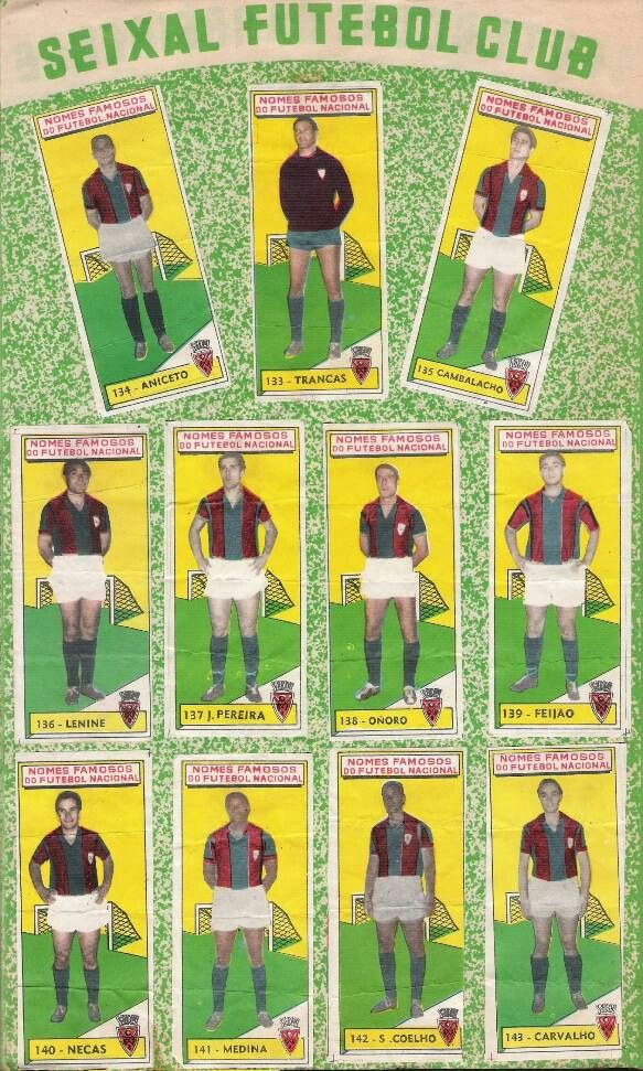 Seixal FC of Portugal. Team stickers from the 1960s.
