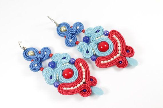 Soutache  blue,red earrings.
