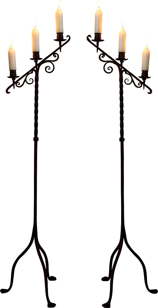 Hand-Forged Iron Candleholders.