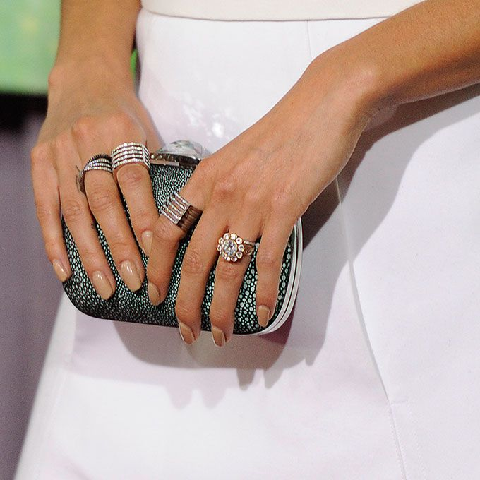 "Brides.com: . Nikki Reed's Engagement Ring. ""It's so gorgeous, and I'm very lucky for many reasons, but I look at it every day and just think, 'Wow.' I don't even know what to say,"" Reed said of her vintage-inspired cluster ring. ""Is that not the most beautiful thing you've ever seen in your whole life?"" We can't help but agree!"