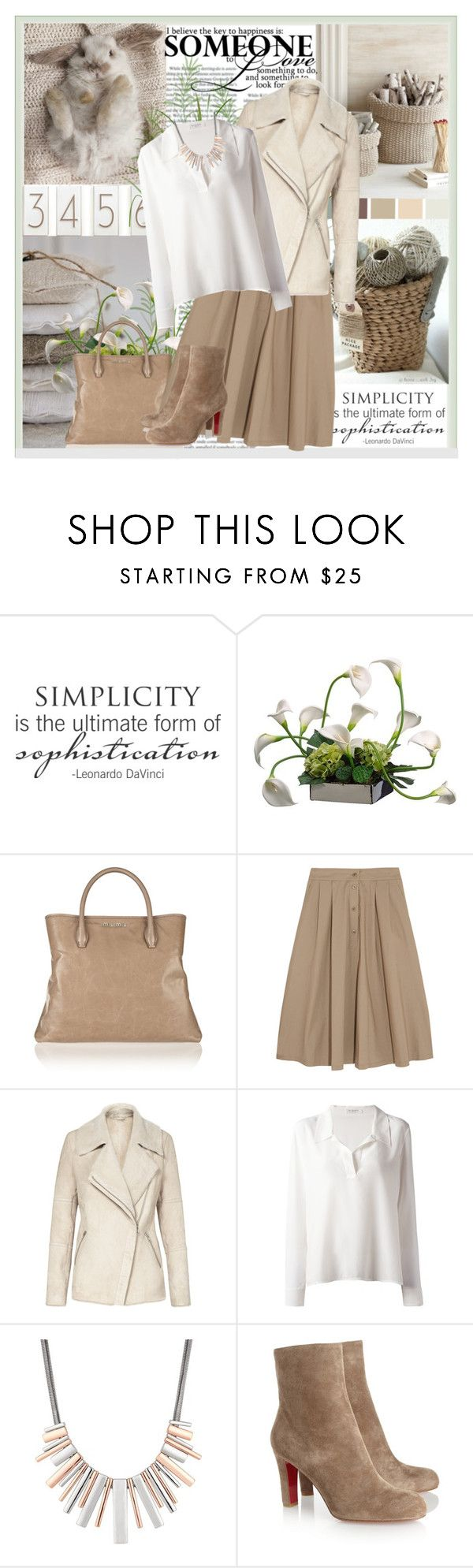 """""""Simplicity"""" by easystyle ❤ liked on Polyvore featuring WALL, Miu Miu, Paul & Joe, Reiss, Equipment, J by Jasper Conran, Christian Louboutin, Leather, Boots and Sweater"""