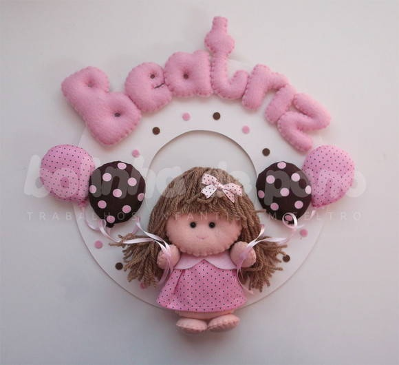 Enfeite Porta Maternidade Menina Balões | Bolinha de Pano | 2735A8 - Elo7