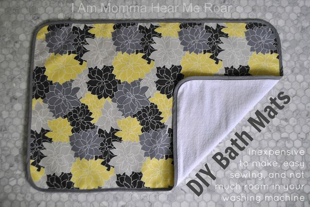 DIY Bath Mats - inexpensive to make, easy to sew and doesn't take up much room in the washing machine.