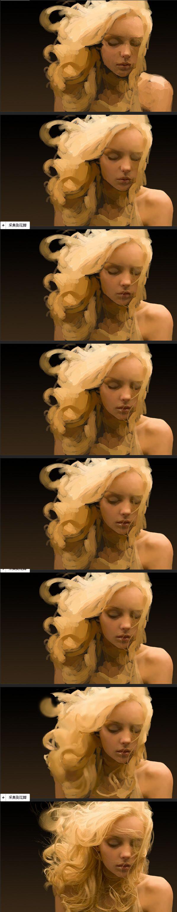 Painting progress of blonde