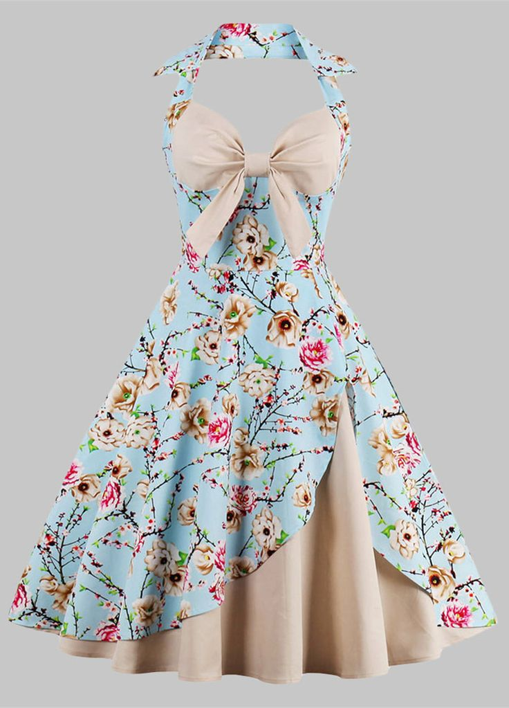 $20.61 Plus Size Floral Print Pin Up Dress - Apricot