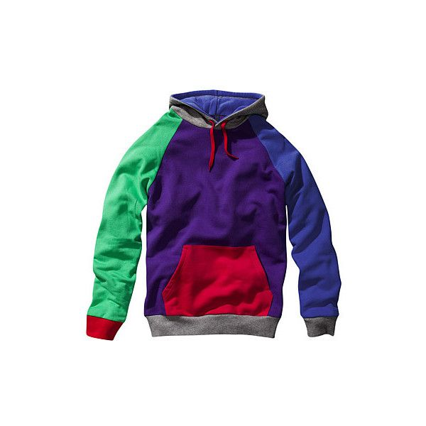 H&M Multi Coloured Hoodie ❤ liked on Polyvore featuring tops, hoodies, sweaters, hooded pullover, h&m hoodies, h&m tops, colorful hoodies and purple top