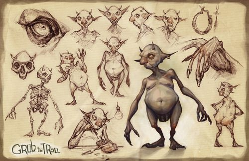 This is Grub the Troll. He is a tinkerer who lives in the attic, steals things from below and makes nifty gadgets. I love working on character development pieces, It feels like I'm making friends… literally. Audrey Benjaminsen 2012