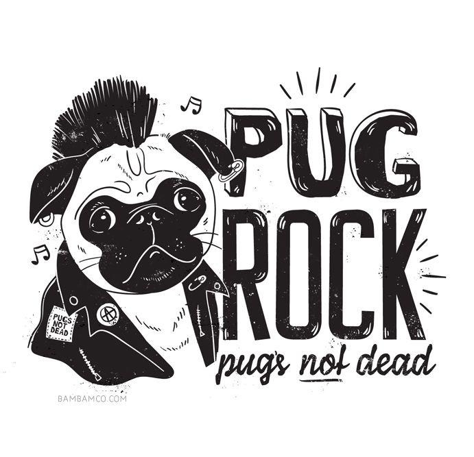 Pug Rock - illustrations for Typo, 2014. Pug bag... | BamBam.Co