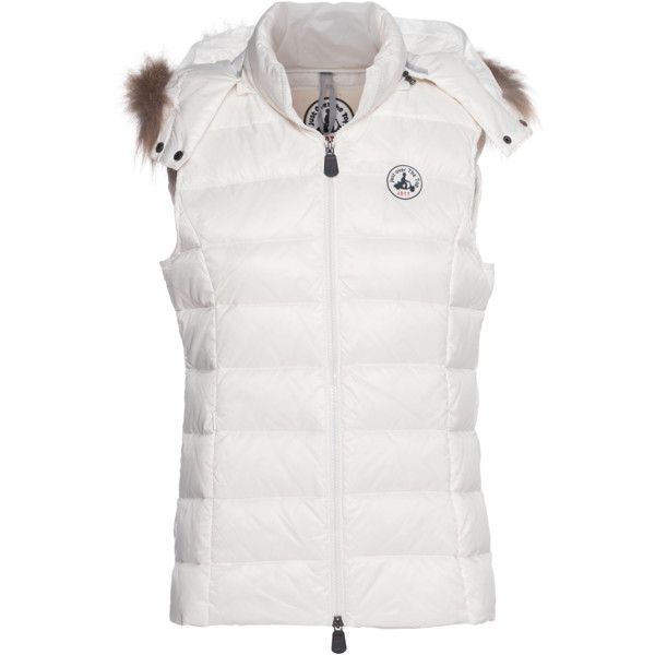 JOTT - JUST OVER THE TOP Vermeil Down Off-White // Down vest with fur... ($130) ❤ liked on Polyvore featuring outerwear, vests, down vest, fur trim down jacket, fur trimmed vest, down feather jacket e zip vest