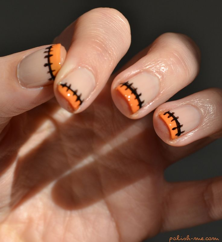 Halloween Nails / Manicure -- this looks pretty easy and you could also do green instead of orange for a Frankenstein look