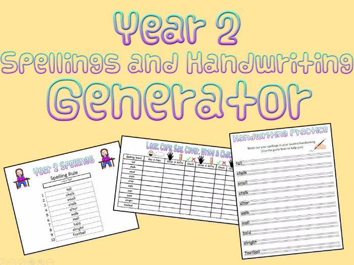 Year 2:  Spellings and Handwriting Generator