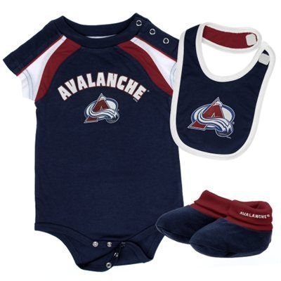Reebok Colorado Avalanche Newborn Creeper, Bib & Booties Set - Steel Blue