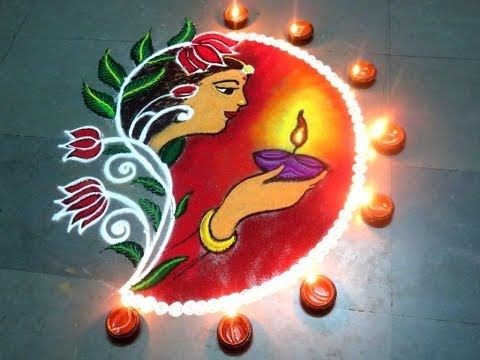 Easy Rangoli Design DIWALI SPECIAL RANGOLI using kitchen tools by creative Hands - YouTube