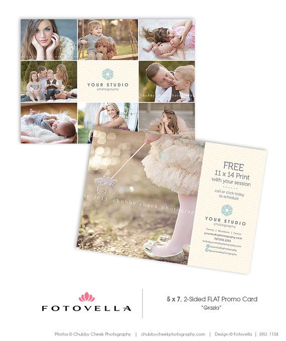 """Grazia"" 5x7 promo card / postcard template for photographers by FOTOVELLA • Featuring images by Chubby Cheek Photography"