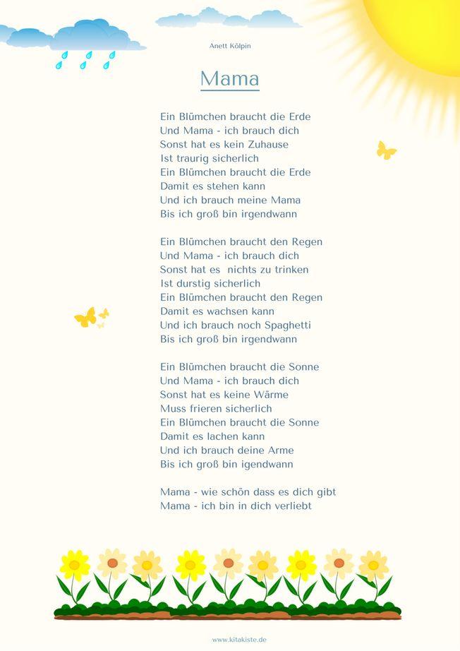 "Gedicht Muttertag ""Mama"" 1-3 Kita"