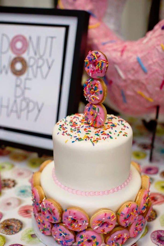 Cake from a Donut Themed Birthday Party via Kara's Party Ideas! KarasPartyIdeas.com (33)