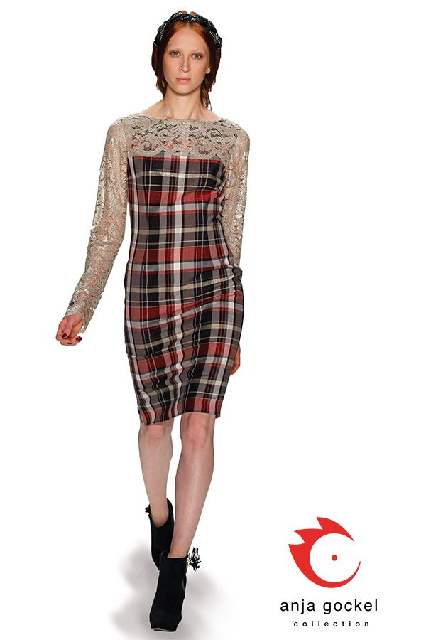 Material mix dress with classic check and lace combination