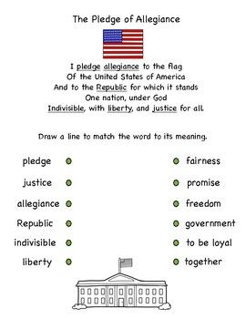 This activity is a great addition to my US Symbols packet! You can easily assess what your students learned about the vocabulary in the pledge of allegiance!