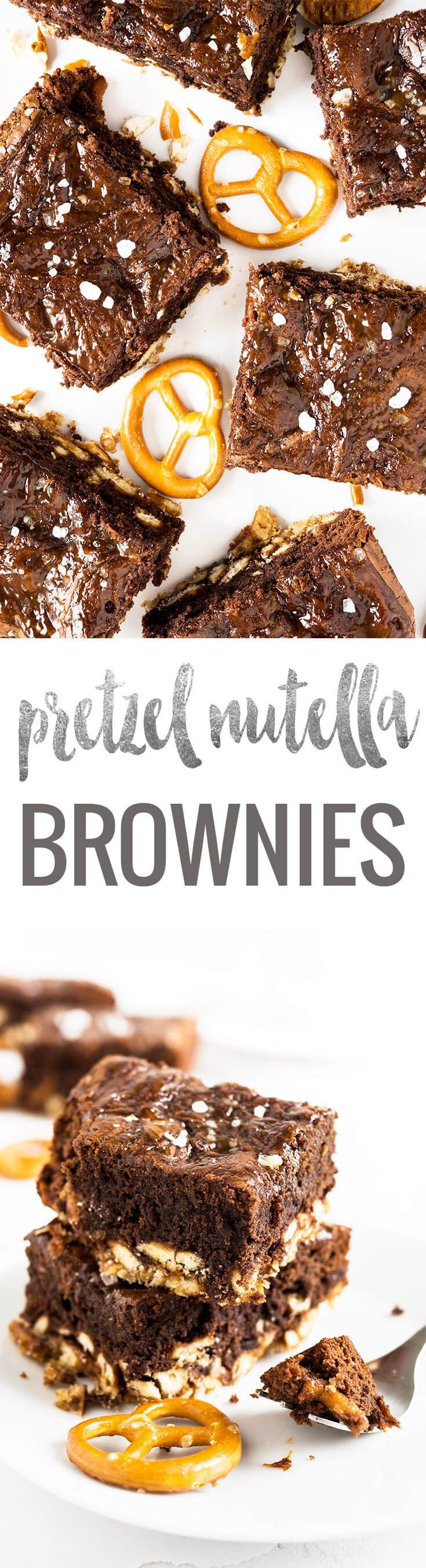 Salted Caramel Pretzel Brownies have a crunchy pretzel crust and are made with Nutella! These are not ordinary brownies, they are chewy, salty, sweet, chocolatey, and crunchy!